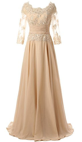 Butmoon Women's 3/4 Sleeve Lace Up Long Mother of The Bride Dress Champagne US22W