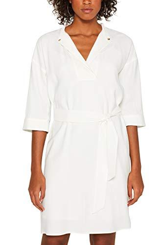 ESPRIT Collection Damen 049EO1E036 Kleid, Weiß (Off White 110), (Herstellergröße: 34)