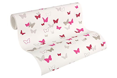 Esprit Kids Vliestapete Sweet Butterfly Tapete Kindertapete 10,05 m x 0,53 m grau rosa weiß Made in Germany 302892 30289-2