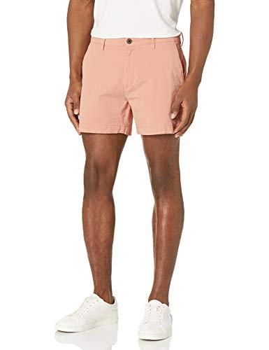 Marca Amazon – Goodthreads – Pantalones cortos chinos, cómodos y elásticos sin pinzas en la parte delantera con tiro de 13 cm para hombre, Rosa (Muted Clay Mut), W38
