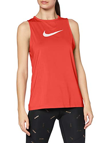 NIKE W NP Tank Essential Swoosh Camiseta sin Mangas, Mujer, Track Red/(White), M