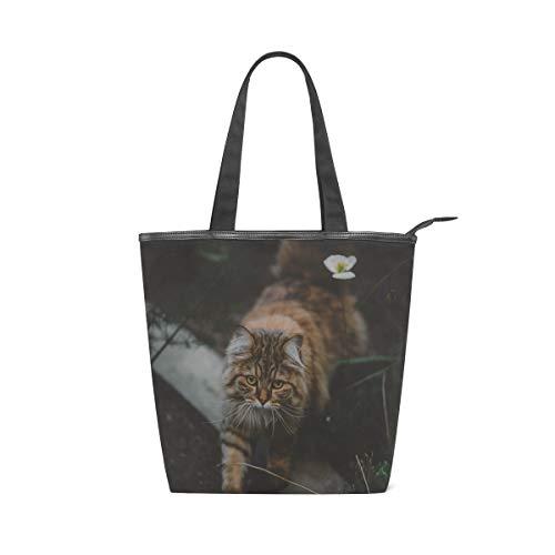Adorable Animal Cat Canvas Tote Bag for Women, High-capacity Canvas Handbag Shoulder Bag for Travel, School, Work, Shopping (11×4×13.6 in)