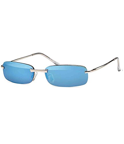 Caripe sportliche Sonnenbrille Herren rechteckig rahmenlos verspiegelt, herso (One Size, Modell 5000 - blau verspiegelt)