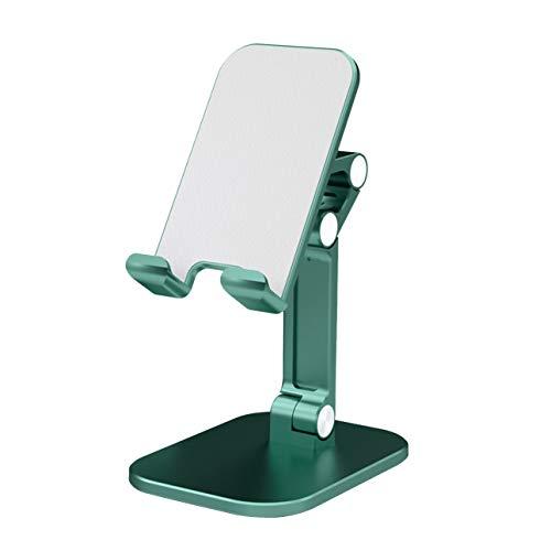 Soporte de metal para teléfono móvil y tablet de 4,7 a 13 pulgadas, giratorio 360°, con alfombrilla de goma (verde)