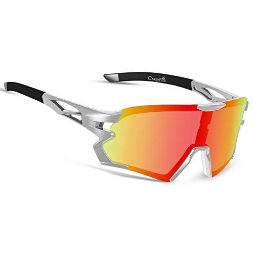 CrazyFire Gafas de ciclismo polarizadas deportivas, gafas de ciclismo con pantalla grande, gafas de sol con puente nasal ajustable, para ciclismo, correr, escalada, conducción, pesca, golf