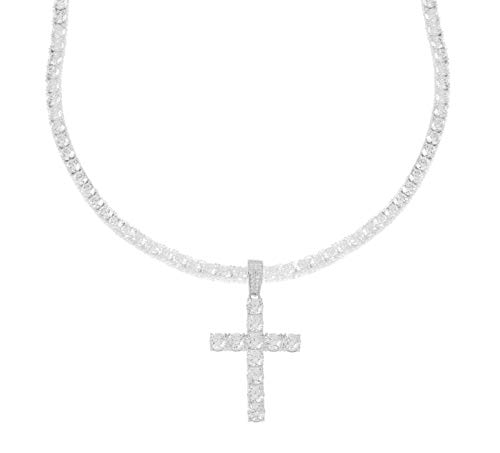 Men's Rhodium-Plated Silver Finish Round Cut Cubic Zirconia Cross Pendant with One Row Tennis Necklace Choker Chain (Chain 20'')