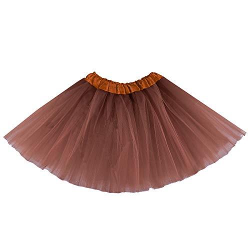 belababy Girl Tutu Skirt, 3 Layered Fluffy Tutus, Ballet Dance Dress Up for 2-8 Years Children Coffee
