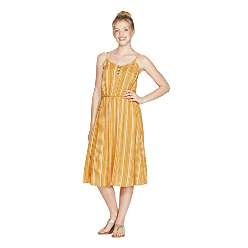Xhilaration Women's Striped V-Neck Strappy Lace-Up Top Midi Dress - Golden Yellow - Large