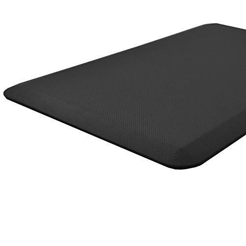 "AirMat Anti Fatigue Comfort Mat for Kitchen and Standing Desk. Premium 3/4"" cushioned non skid floor rug, Non Toxic and ergonomically design (20x32"") Matte Black"