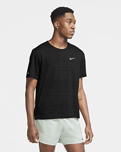 Nike Herren T-Shirt DF Miler T-Shirt, Black/Reflective Silv, S, CU5992