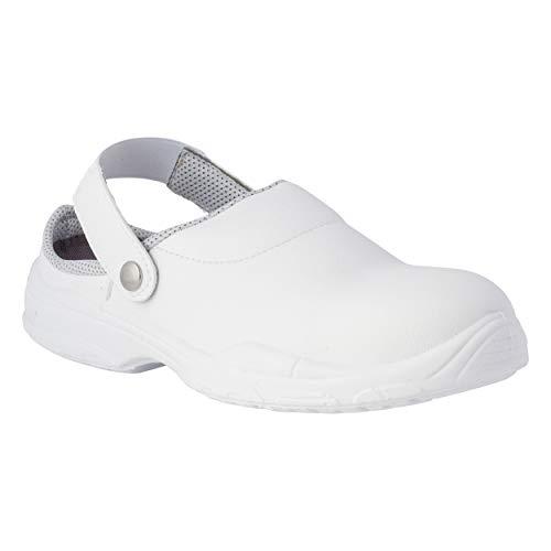REPOSA Medical Zuecos Sanitarios, Zuecos de Trabajo con Puntera, Parte Superior de Microfibra, Zapatos Sanitarios, Plantilla extraíble, Plantilla anatómica, Suela de PU