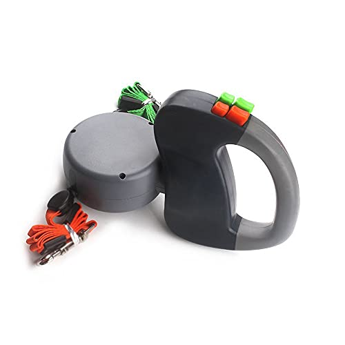A-myt Duurzaam Tot 110 lbs (zwart grijs roze), meditatief elastisch touw - 360 graden spin, 16ft lood-duty double-head afsluitbare uitschuifbare petriem, intrekbare hondenriem, LED Zaklamp Mooi