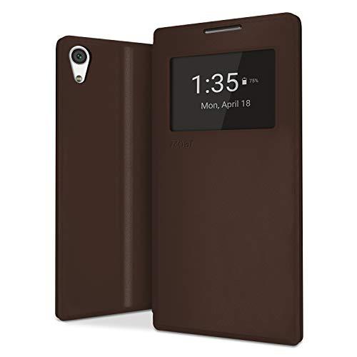 NessKa® perfecte bescherming voor mobiele telefoon | Flip Case boek tas mobiele telefoon met kaartenvak, raam, binnenin siliconen hoes en standfunctie van hoogwaardig kunstleer
