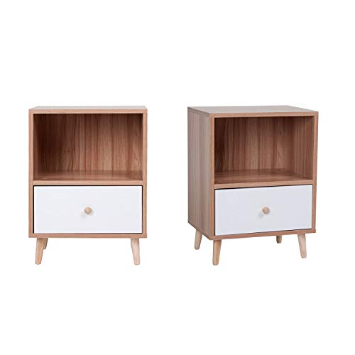 Beliwin Small Bedside Table Set of 2, Bedside Cabinet with White Drawer and Pine Legs, Walnut Cabinet Storage Unit for Bedroom Living Room 40 * 30 * 54 cm
