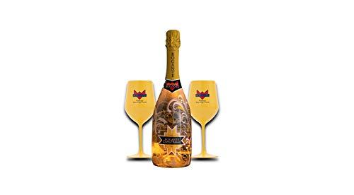 Kit Festa della donna Bottiglia illuminata 0,75L+ 2 Bicchieri Rogante regalo (Exotic Passion)