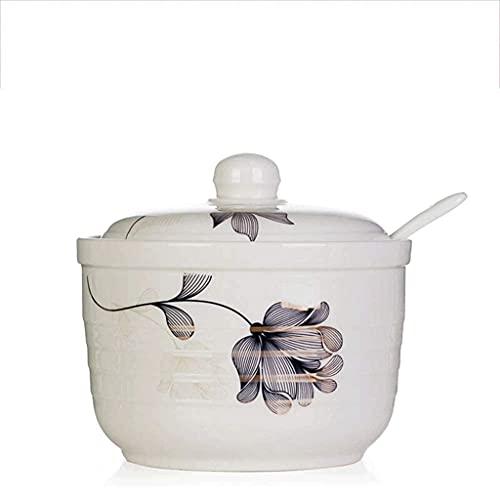Suministros de cocina Vintage pintado a mano Tarro de especias de cerámica con cuchara de tapa Caja de condimentos de condimento Potes Spice Racks para la cocina Restaurante (Color: D) (Color: C)