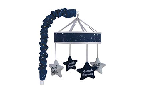 Wendy Bellissimo Baby Mobile Crib Mobile Musical Mobile - Stars Mobile in Navy and Grey