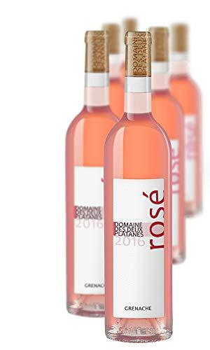 Domaine des Deux Platanes Wein - Rosé 2016 - Weinflasche 6 x 0,75 l - Weinqualität aus Frankreich - Roséwein - Gekeltert aus 100{621a09fac9b771c66304623f8218708e9360394bc3068e60cb8a498753c800ed} Grenache - Bio