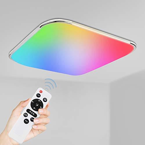 VINGO 24W LED Deckenleuchte Dimmbar, LED Deckenlampe RGB Farbwechsel, IP44 wasserdichte Badlampe Wohnzimmerlampe [Energieklasse A++]