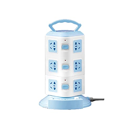Regletas Eléctricas Tablero de zócalo Vertical Inteligente multifunción poroso con Torre de Carga USB enchufable en regleta de alimentación doméstica,Blue3,1.8M