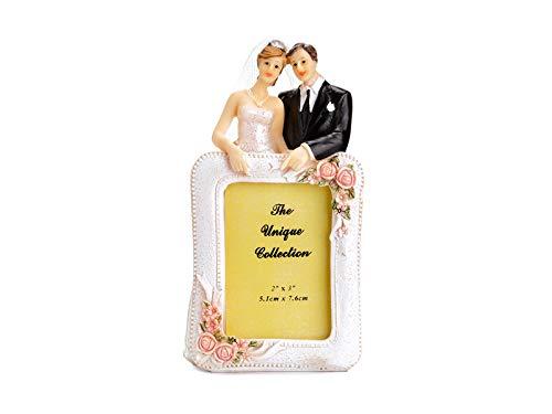 STATUINA Sposi con cornice porta FOTO - Sposi Sposini - cake topper nuziale per decoro decorazioni torte e dolci nuziali di matrimonio, anniversario ecc.