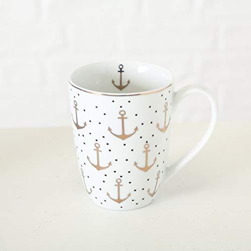 Bloominghome Tasse mit Henkel Anker Gold Kaffeebecher gepunktet Porzellan