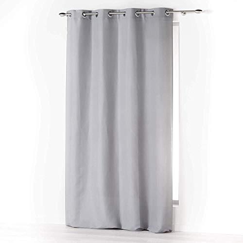 Home Trend Paris - Tenda oscurante e isolante, 1 pannello per finestra con occhielli, per soggiorno, camera, 140 x 260 cm, colore: Grigio chiaro