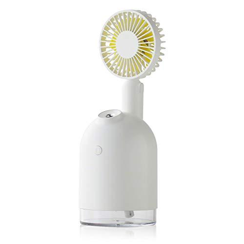 Qurra(Anemo Misty mini) 4WAY 送風 加湿器 扇風機 充電式 卓上 小型 デスク 50ml/h USB充電 LED 分離 ハンディファン 持ち運び ホワイト