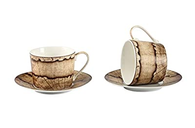 GuangYang Wood Grain Floral Tea Cups and Saucers Set of 2,7.5 Ounces,2 Tea Cups 2 Saucers for 2 People,China Tea Set Perfect for Specialty Coffee Drinks/Latte/Cafe/Mocha/Tea