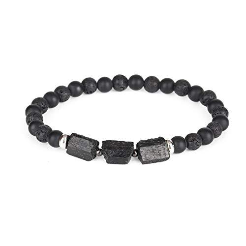 LWSHOP LYRStore886 Natural Rough Black Tourmaline Healing Piedra Beads Combinación de 6 mm Matte Agate Lava Energy Pulsera para Hombres y Mujeres Mano de Obra Exquisita, práctica