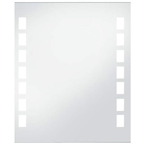 vidaXL Wandspiegel Badezimmer mit LED Badspiegel Spiegel Lichtspiegel Badezimmerspiegel 50x60cm Silbern Glas Aluminiumrahmen IP 44 6 W
