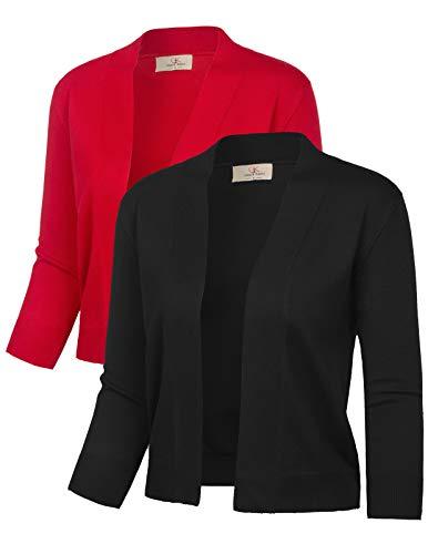 Stretchy Ladies Vintage Shrugs (M,Black&Red,2 Pack)