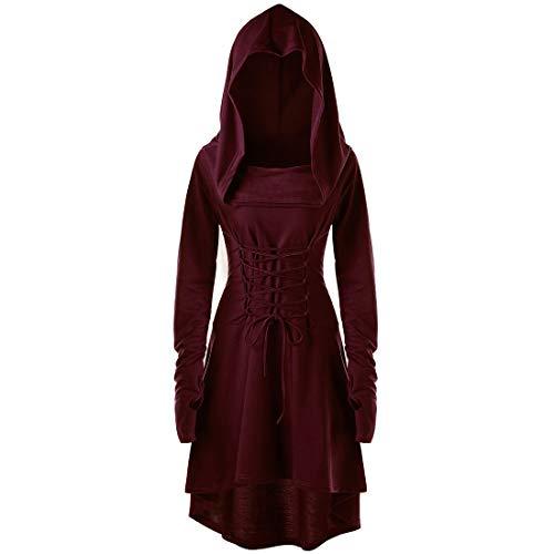 Vestido de otoño e Invierno para Mujer con Mangas largas Túnica con cordón en Estilo gótico Traje Medieval Ropa de Noche Elegante de Color sólido Sudadera con Capucha de Vacaciones Camiseta sin Dedos