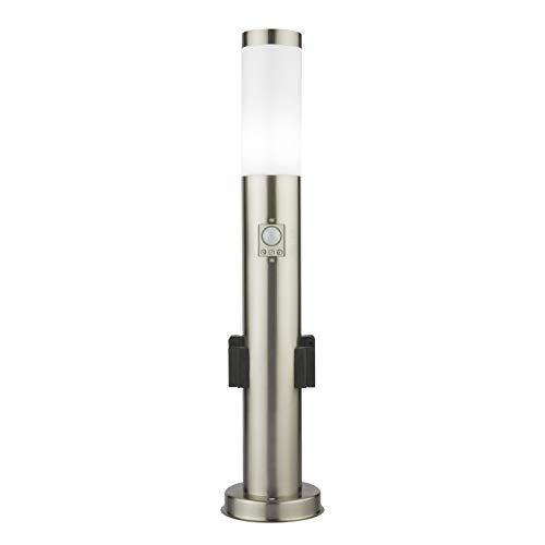 LED Standleuchte 65cm mit zwei Steckdosen Bewegungsmelder und Dämmerungssensor Pollerleuchte Gartenleuchte Edelstahl S10KS IP44 E27 230V Neutralweiß