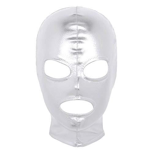 Nimiya Damen Herren Wetlook Kopfmaske Sexy Latex Maske Fetisch Kopfhaube Mundöffnung Augenöffnung Hinter Öffnen Mit Zipper Masquerade Clubwear Silber One Size
