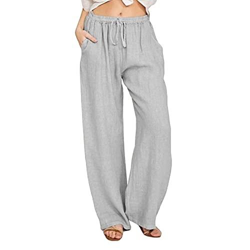 Womens Cotton Linen Pants Wide Leg High Waisted Drawstring Summer Beach Pants with Pockets Gray