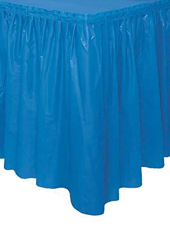 Unique Party- Falda de mesa de plástico, Color azul rey, 420 cm (50057)