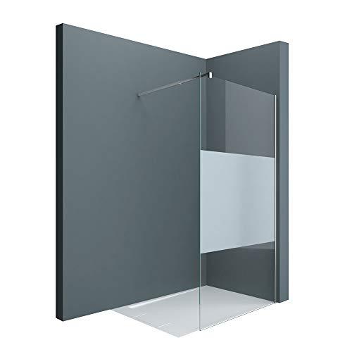 doporro Luxus Duschwand Duschabtrennung Bremen1MS 110x200 Walk-In Dusche mit Stabilisator aus Echtglas 8mm ESG-Sicherheitsglas Klarglas inkl. Nanobeschichtung