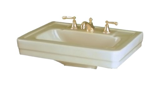 St. Thomas Creations 5125.082.02 Richmond Petite 8-Inch Centerset Pedestal Sink, Bone Finish. Drain stopper not included.