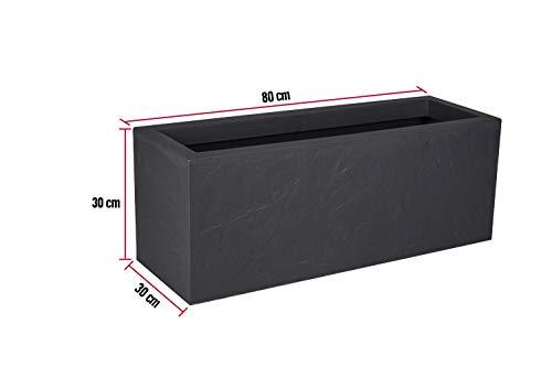 Kreher XL Pflanzkasten rechteckig der Serie Stone in Anthrazit, aus robustem Kunststoff, in verschiedenen Größen (57 L)