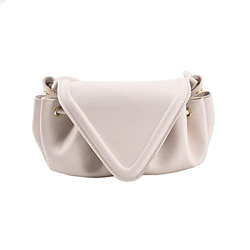 QIANJINGCQ Moda todo-fósforo personalidad triángulo cubierta nube bolsa temperamento color sólido bolsa de mensajero bombeo dumpling bolso dama bolso mochila