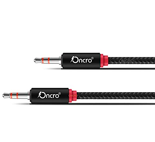 ONCRO® Indestructible Black Nylon Braided Strong 3.5mm Plug Male to Male Stereo Aux Audio Cable, 2 mtr (6.5 Ft) for mobiles/Cars/Speakers/Computers and Similar.