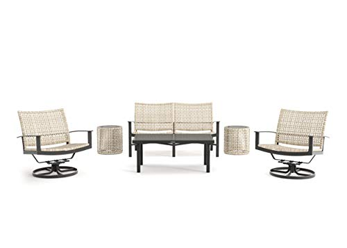 Winston Jasper - 6-Piece Loveseat, Swivel Lounge Chair and Drum Stool/Side Table Seating Set - Textured Pewter Frame - Beechwood Weave