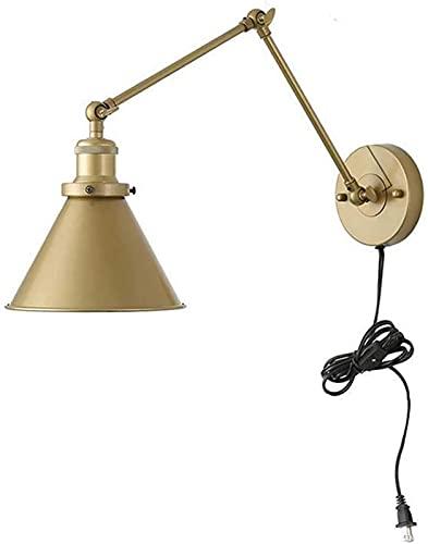 E27 Lámparas de pared industriales con interruptor de enchufe y cable de 1,5 m Lámpara de pared de metal flexible extensible ajustable retro Lámpara de noche de interior Lámpara de lectura para...