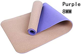 Yoga Mat Cork Sports Yoga Mat Cork Natural Rubber Yoga Mat TPE Fitness Non-Slip Exercise Pilates Workout Purple 5