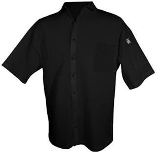 Chef Revival CS006BK 24/7 Poly Cotton Blend Short Sleeve Unisex Cook Shirt with Snap Closure Bottons, 3X-Large, Black