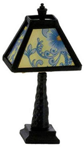 Melody Jane Casa de Muñecas Negro Lámpara de Mesa Azul Estampado Sombra...