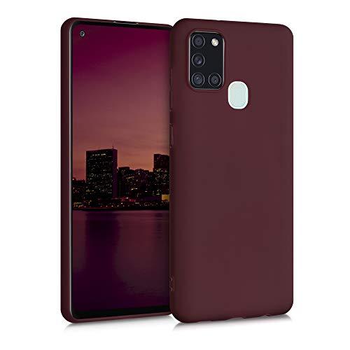 kwmobile Funda Compatible con Samsung Galaxy A21s - Carcasa de TPU Silicona - Protector Trasero en Rojo Vino