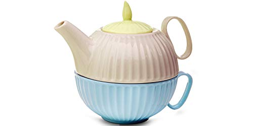 MADRHELEN Teiera e Tazza da tè in Porcellana Multicolore, Set di Porcellana da tè per Una Persona