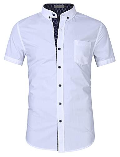 Camisa Casual Hombre Manga Corta Básica Ajustada Botones Tapeta Hombre Camisa Punto Ola Verano Bolsillos Empalmar Hombres Camisa Funcional Urbanos Hombres Camisa Negocios B-White XXL